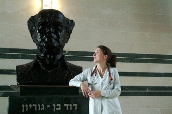 Student with Ben Gurion Statue